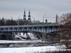 Pejzaż zimowy. Most Królowej Jadwigi