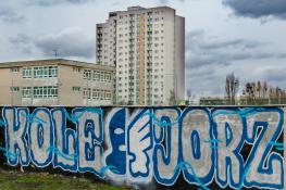 Niebiesko białe graffiti